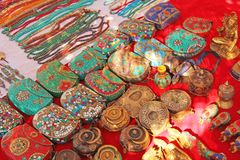 Fine beautiful small handbags mosaic are sold on the market in India. Gift souvenir India Tibet Bazaar.  royalty free stock images