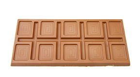 Fine Belgian chocolate bar. Very large Belgian chocolate bar. Isolated on white background Royalty Free Stock Photography