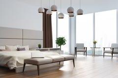 Fine bianca e beige dell'angolo della camera da letto su Fotografia Stock