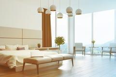 Fine bianca e beige dell'angolo della camera da letto su tonificata Fotografia Stock Libera da Diritti