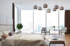 Fine bianca e beige della camera da letto sul lato Fotografia Stock