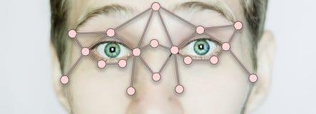 Fine biometrica dell'identificazione di ricerca dell'occhio su isolata fotografia stock