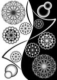 Fine black white inverse composition with geometric stars. And patterns Royalty Free Stock Photo