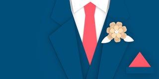 Fine blu del vestito dello sposo sullo spazio della copia dell'illustrazione 3D illustrazione di stock