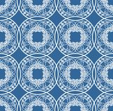 Fine blue geometric lace patterns on blue background. Seamless patterns in ethno style Stock Image