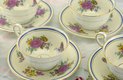 Fine Bone China Teacups. On a Table Royalty Free Stock Photo