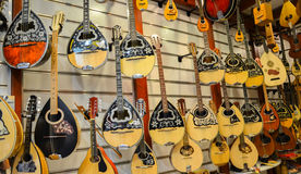 Fine bouzouki music instruments on display Stock Images