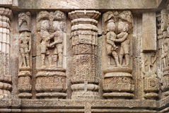 Fine carving of erotic sculptures, Sun Temple Stock Images