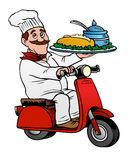 Fine Chef delivering food on a scooter. Gourmet delivery, fine food fast.  Chef on a scooter Royalty Free Stock Photo
