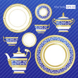 Fine China - Set of porcelain. Services. Teapots, cups, sugar bowls, saucers and plates Royalty Free Stock Photo