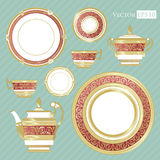 Fine China - Set of porcelain. Services. Teapots, cups, sugar bowls, saucers and plates stock illustration