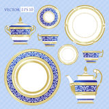 Fine China - Set of porcelain. Services. Teapots, cups, sugar bowls, saucers and plates Royalty Free Stock Image
