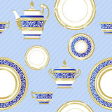 Fine China - Set of porcelain. Vector seamless. Fine China - Set of porcelain. Services. Teapots, cups, sugar bowls, saucers and plates Stock Photography