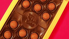 Fine chocolate end cognac truffles in box. stock video