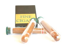 Luxurious cigars in glass tube Stock Photography
