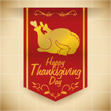 Fine Classic Thanksgiving  Turkey Silhouette Banner, Vector Illustration Stock Photography