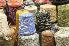 Fine colored wool thread for the creation of handmade sweaters Royalty Free Stock Image