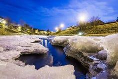 Fine congelata del fiume su Immagine Stock