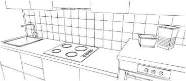 Fine contemporanea del contatore di cucina su, disegno di schizzo in bianco e nero Fotografia Stock Libera da Diritti