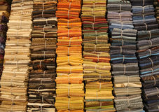 Fine cotton fabrics for sale in a haberdashery shop Stock Photos