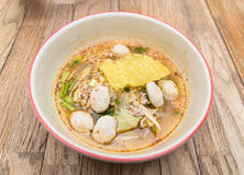 Fine Cut White Rice Noodle Hot and Sour Soup with pork ball Stock Photo