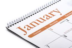 Fine da tavolino di gennaio del calendario su su fondo bianco Fotografia Stock Libera da Diritti