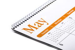 Fine da tavolino di maggio del calendario su su fondo bianco Fotografia Stock
