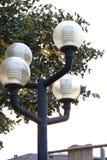 Fine del dettaglio della lampada dell'iluminazione pubblica su, albero nel fondo Fotografie Stock Libere da Diritti