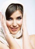 Fine del fronte della donna di bellezza sul ritratto Fotografia Stock Libera da Diritti