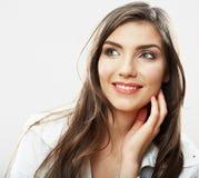 Fine del fronte della donna su backround bianco isolato Fotografia Stock