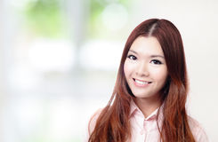 Fine del fronte di sorriso della donna di affari in su Fotografia Stock Libera da Diritti