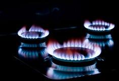 Fine del gas della stufa in su Fotografia Stock Libera da Diritti