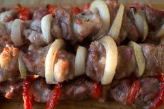 Fine del kebab di Shish in su Fotografie Stock