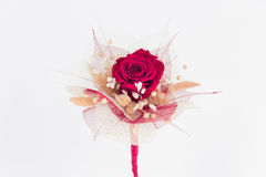 Fine del mazzo di nozze della rosa rossa su fotografia stock libera da diritti
