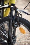 Fine del mountain bike del freno anteriore su Immagine Stock