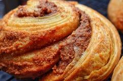 Fine del panino di cannella di stile della brioche su Fotografia Stock