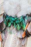 Fine del pavone dell'ornamento del turchese sulle piume Immagini Stock Libere da Diritti