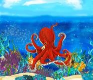 Fine del polipo del fumetto su underwater Immagine Stock Libera da Diritti