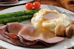 Fine del pranzo del manzo di arrosto in su Fotografia Stock