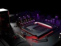 Fine dell'incavo del CPU della scheda madre del computer su rappresentazione 3d Immagine Stock