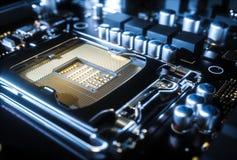 Fine dell'incavo del CPU della scheda madre del computer su rappresentazione 3d Immagini Stock