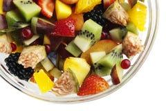 Fine dell'insalata della frutta fresca in su Fotografia Stock