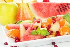 Fine dell'insalata di frutta in su. Fotografia Stock Libera da Diritti