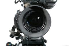 Fine dell'obiettivo di macchina fotografica dello studio della TV in su Immagini Stock