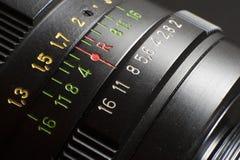 Fine dell'obiettivo di macchina fotografica in su Immagine Stock