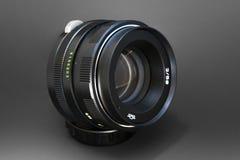 Fine dell'obiettivo di macchina fotografica in su Immagini Stock