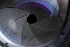 Fine dell'obiettivo di macchina fotografica in su Fotografie Stock