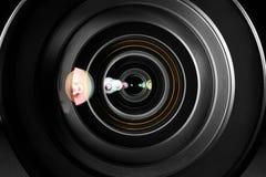 Fine dell'obiettivo di macchina fotografica in su Fotografie Stock Libere da Diritti