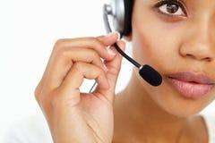 Fine dell'operatore della call center in su Fotografia Stock