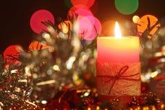 Fine della candela di Christmad su Immagine Stock